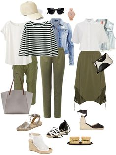 Ensemble: Olive, White, Denim Espadrilles