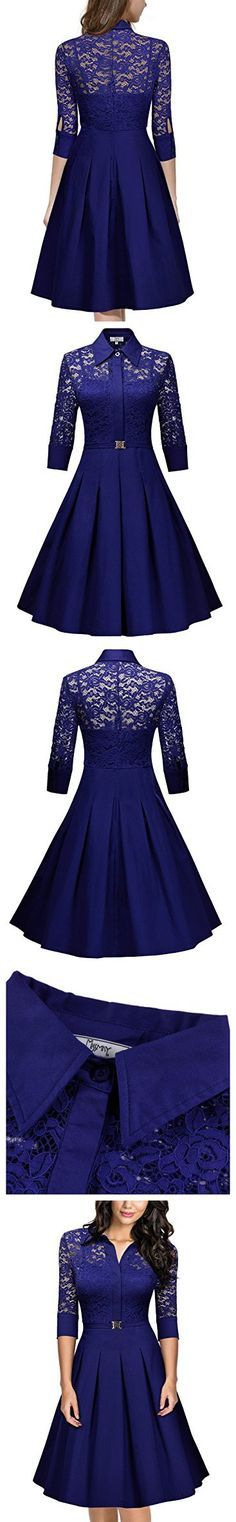 Missmay Women's Vintage 1950s Style 3/4 Sleeve Lace Flare A-line Dress (XX-Large,Bright Blue)