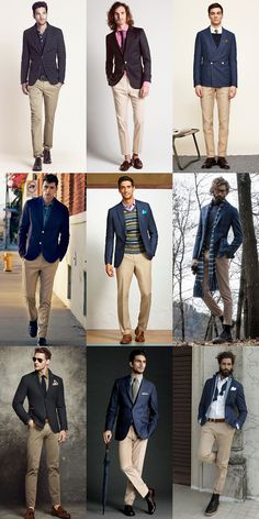 Men's Top 5 'Separates' Combinations: Navy Jacket With Beige/Khaki Trousers Lookbook Inspiration
