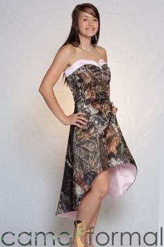 Pink Mossy Oak camo dress, perfect for #weddings or #prom.
