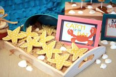 Star fish cookies at a Surf's up retro beach birthday party