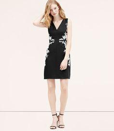Loft: Linen Cotton Embroidered Dress