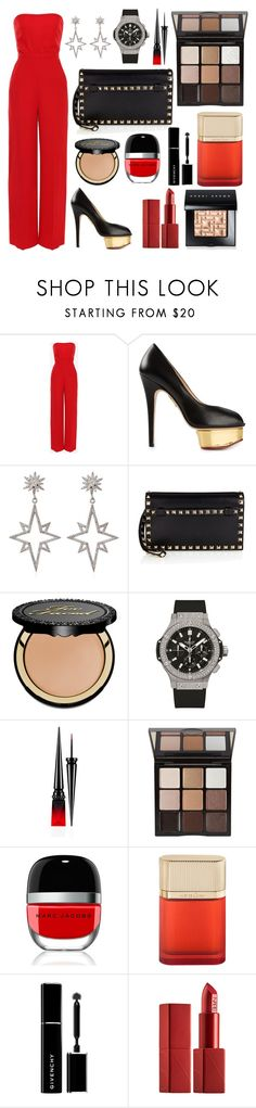 """Untitled #453"" by ngkhhuynstyle ❤ liked on Polyvore featuring Valentino, Charlotte Olympia, Apples & Figs, Too Faced Cosmetics, Hublot, Christian Louboutin, Trish McEvoy, Marc Jacobs, Cartier and Givenchy"