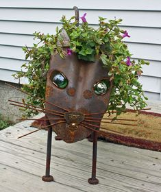 Cat Sculpture Found object metal garden by foundobjectart on Etsy, $185.00
