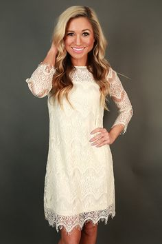 Paris Lace Shift Dress in Ivory