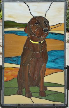 Labrador Retriever stained glass portrait by AGlassMenagerie.net