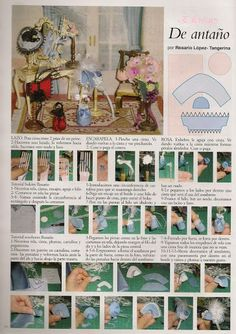 Algomenudito: Mis trabajos publicados how to make a bonnet, lots of pictures to… Dollhouse Dolls, Miniature Dolls, Dollhouse Miniatures, Dollhouse Dresses, Dollhouse Accessories, Barbie Accessories, Diy Arts And Crafts, Paper Crafts, Diy Crafts