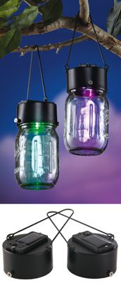 Turn any Mason Jar into a Solar Hanging light with these solar panel Jar Tops!