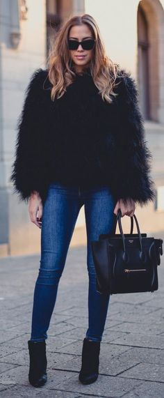 d290937ecd4b 40+ Everyday Spring Outfits To Copy Right Now. Black Fur JacketBlack Faux  ...