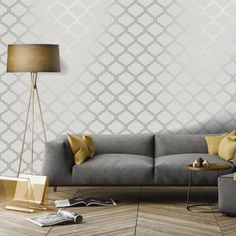 A geometric metallic wallpaper design in grey and silver from the Glistening Wallpaper Collection. Available at Go Wallpaper UK. Geo Wallpaper, Trellis Wallpaper, Metallic Wallpaper, Trellis Pattern, Wood Painting Art, Cheap Apartment, Bohemian Style Bedrooms, High Quality Wallpapers, Living Room Bedroom