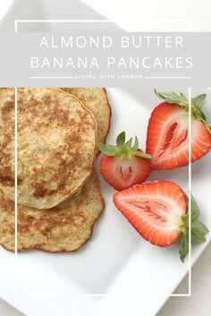 These simple, five ingredient almond butter banana pancakes are a healthy and delicious breakfast treat!