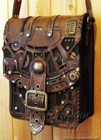"""geekygeekweek: """" Stunning Steampunk Leather Bags And Books These bags and books are the work of Russian leatherworker and throat singer Serguei Kooc. He's created incredibly detailed Steampunk bags and books with lots of brass accents. Gadgets Steampunk, Viktorianischer Steampunk, Design Steampunk, Costume Steampunk, Steampunk Couture, Steampunk Clothing, Steampunk Fashion, Gothic Fashion, Steampunk Outfits"""