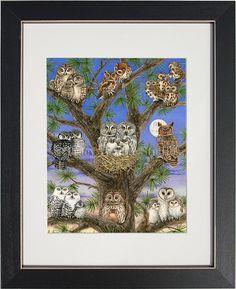 Búho del árbol - archivo acuarela grabado por Tracy Lizotte