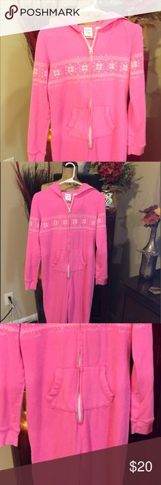 LIVE, LAUGH, LOVE..PINK FOOTIE PAJAMAS! Pink Live, Laugh, Love...ADULTS ONESIE. ZIPS FROM MIDDLE TO THE TOP! FLEECE ON THE INSIDE, HOODIE ATTACHED ON BACK! PINK WITH WHITE SNOWFLAKES AND BLING JEWLS! FANTASTIC FOR A COLD NIGHT, READING A BOOK, WITH SOME NICE HOT TEA🌷 LIVE LAUGH AND LOVE Intimates & Sleepwear Pajamas