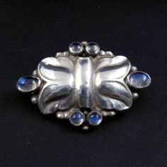 Georg Jensen #54 Brooch Sterling Silver with Blue Moonstones