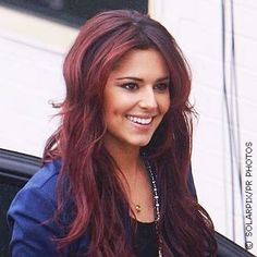 Cheryl Cole with black cherry hair