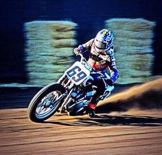Nicky Hayden #69 Flat Track Motorcycle, Flat Track Racing, Motorcycle Racers, Dirt Racing, Motorcycle Art, Bike Art, Road Racing, Nicky Hayden, Bike Rider