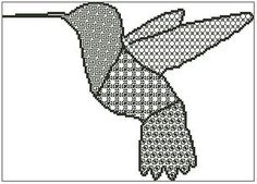 Blackwork Hummingbird is a unique outline and blackwork chart measuring 149 stitches wide by 106 stitches high and has been designed for your to use Cross Stitch Bird, Cross Stitch Charts, Blackwork Patterns, Hummingbird, Outline, Birds, Colours, Design, Bird