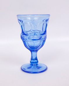 Vintage Blue Glass Cordial Thumbprint Pattern by LeVintageGalleria