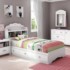 This charming set from the Tiara collection features lots of storage space, as well as a delightful feminine style that'll enthrall your little princess! Its multiple storage spaces – the open ones in the bookcase headboard and the drawers in the mates bed – will be essential when you're organizing her things. And the decorative moldings and jewel like handles round out this cute little duo beautifully.