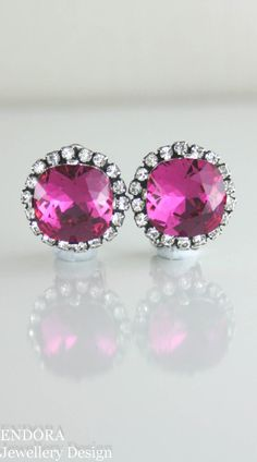 Swarovski fuchsia crystal earrings - available for pierced and non pierced ears - stud or clip on | www.endorajewellery.etsy.com