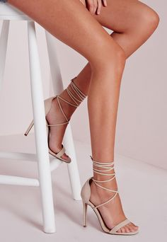 Lace Up Barely There Heeled Sandals Nude
