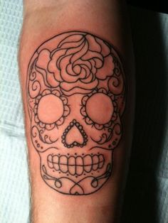 sugar skull tattoo. I like how its just an outline!