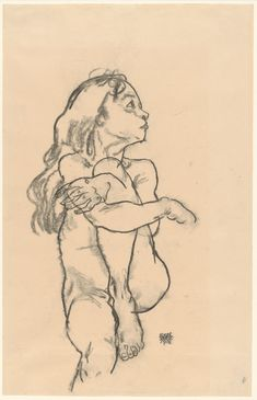 Egon Schiele – Seated Nude Girl Clasping Her Left Knee, Charcoal on paper Egon Schiele Drawings, Art Sketches, Art Drawings, Dancing Drawings, Art Optical, Klimt, Figure Drawing Reference, Caravaggio, Art Graphique