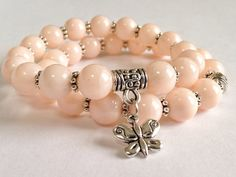 Peach Moonstone Stacking Bracelets for Women and Girls With Silver Butterfly Charm