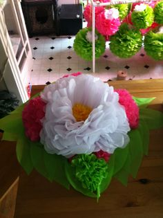 Candle and tissue paper flower centerpiece from smoothpebble studio tissue paper flower centerpiece mightylinksfo Images