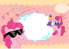 Pinky Pie birthday invitation card (template).