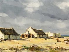 View Arniston Cottages By Don Madge; Access more artwork lots and estimated & realized auction prices on MutualArt. Abstract Landscape, Landscape Paintings, Farm Paintings, Fishermans Cottage, Building Painting, Life Paint, Cottage Art, South African Artists, Cool Art Drawings