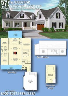Architectural Designs House Plan 830021DSR has an 8'-deep front porch and a larger one in back! | 3 beds | 2.5 baths | 3,400+ Sq. Ft. | Bonus over garage | Ready when you are! Where do YOU want to build? #830021DSR #adhouseplans #architecturaldesigns #houseplan #architecture #newhome #newconstruction #newhouse #homedesign #dreamhouse #homeplan #architecture #architect #farmhouse #countryhome #countryhouse #lowcountry
