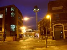 Crosshall Street and the Radio City Tower in Liverpool at dusk (taken on Wednesday 21 August 2013).
