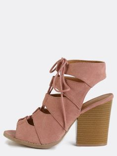 387f56799b9 Faux Suede Lace Up Stacked Heels PINK Yellow Dress Shoes