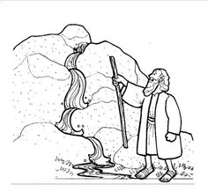 water from the rock coloring pages | water from the rock printables | moses and the water from the rock