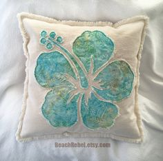 Hibiscus flower pillow cover in soft aqua and yellow leaf batik and natural distressed denim boho pillow cover Boho Pillows, Throw Pillows, Craft Projects, Sewing Projects, Batik Quilts, Hawaiian Quilts, Flower Pillow, Sewing Pillows, Hibiscus Flowers