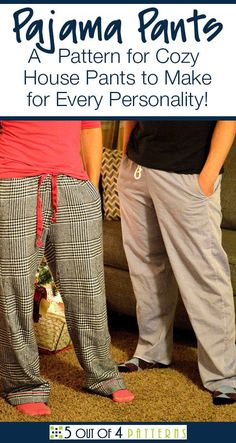 Our Pajama Pants PDF pattern are so cozy you'll want to wear them around the house all day!  This unisex pattern can be customized to match every personality.  With the holidays around the corner, these PJ's would make the perfect gift! #5outof4patterns #5oo4 #pajamapants #pdfsewingpattern #unisexpattern #housepants #giftidea #christmaspajamas #christmas #handmadegifts