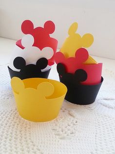 Mickey Mouse Party - Cupcake Wrappers - Set of 12 - Happy Birthday - Baby Shower - Party Decorations