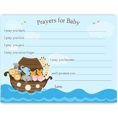 Have guests make wishes and offer prayers at your baby shower with this Noah's Ark themed wishes card.