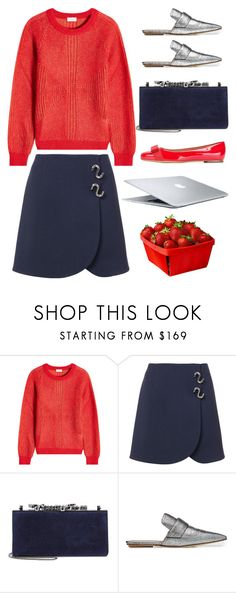 """Navy + Red"" by cherieaustin on Polyvore featuring Closed, TIBI, Jimmy Choo, Marni and Salvatore Ferragamo"