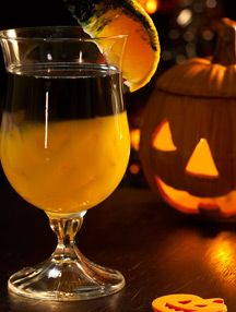 Rotten Pumpkin- Black vodka layered over orange juice- you can just dye regular vodka with black food coloring.