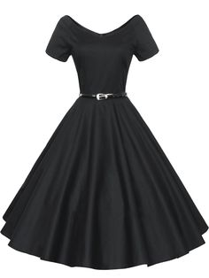 AmazonSmile: ILover Women 1950s V-Neck Vintage Rockabilly Swing Evening Party Dress: Clothing