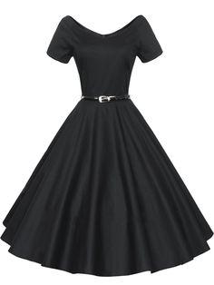 AmazonSmile: ILover Women 1950s V-Neck Vintage Rockabilly Swing Evening Party Dress: Clothing