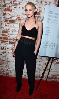 Kristen Stewart rocked a crop top (and her new cropped hairstyle!) at the premiere of IFC Films' Personal Shopper at The Carondelet House in Los Angeles.