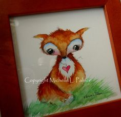 Fox Valentine Original Watercolor Painting Art by Michelle Palmer Framed Ready to hang. $27.00, via Etsy.