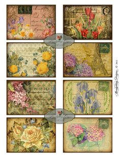 FRENCH FLORAL Printable Tags DIGITAL Atc Aceo Collage Sheet Download and Print Paper Crafts Card 547a. $5.00, via Etsy.