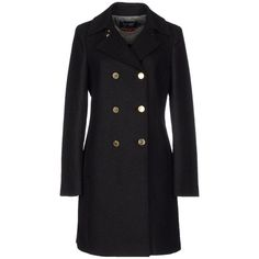 Armani Jeans Coat ($234) ❤ liked on Polyvore featuring outerwear, coats, black, double breasted woolen coat, black double breasted coat, black coat, armani jeans and long sleeve coat