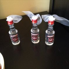 Bachelorette party favors - mini vodka bottles with veils -keep it classy?!!
