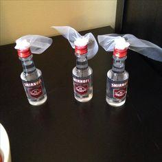 Bachelorette party favors - mini vodka bottles with veils -keep it classy?!!
